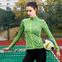wholesale sports jackets - Women s Yoga tops Long Sleeve Running Shirts Tops Compression Tights Sportswear Fitness Workout Quick Dry Breathable sport jackets