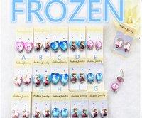 Wholesale new design popular new Frozen Elsa Anna pricess cartoon girl favorite heart round sharp plastic earrings clip on for wedding birthday parde