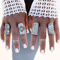 asian carved - 4PCS New Bohemia Vintage Unique Carving Tibetan Silver Plated Ring Set for Women Boho Beach Jewelry