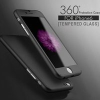 Wholesale NEW Ultra thin Hybrid Degree Full Body Coverage Protective Case Cover with Tempered Glass Screen Protector for Apple iPhone S Plus