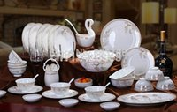 Wholesale 71 piece ceramic coffee set top grade ceramic bowl bone china tableware suit dining room sets