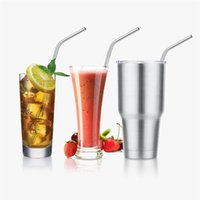 Wholesale 304 Stainless Steel Straws Durable Reusable Metal inch Extra Long Bend Drinking Straws for OZ Yeti Tervis Tumbler Cups DHL Free