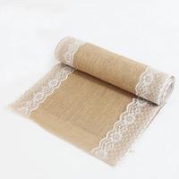 Wholesale 5pcs size cm cm Burlap Lace Table Runner Natural Jute Rustic Wedding Decoration