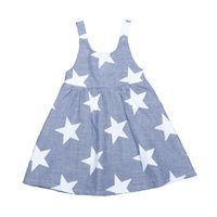 Wholesale Retail INS Girls Star Dress Fashion Brand Baby Girl Clothes Stripe Suspender Children Princess Dresses Summer Style Kids Clothing