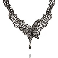 Wholesale 2016 New Vintage Black Lace Chokers Victorian Steampunk Style Flowers Butterfly Necklace Collar Women Jewelry YZ1013