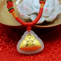 bags boutique - Boutique pendant hot style Hetian white jade and K gold pendant necklace D thick gold happy money bag size cm cm cm couple lover