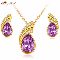Wholesale Ruby Ruth jewelry sets african bridal k gold platinum plated necklace earrings wedding crystal sieraden women fashion gift jewellery set