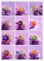 beaded cluster ring - 2016 Women Girl Fashion Hand woven Crystal Beaded Flower Ring Size Mixed Colors Jewerly Rings For Party Christmas Gift