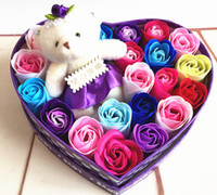Wholesale New Creative Handmade Rose flowers body wash Soap Wedding Gifts Birthday Gifts colors Wedding Favor with box