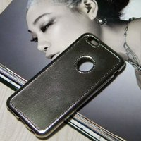 apple gloss - Chromed leather style case for iPhone S and Plus Gloss Luxury design anti finger print soft TPU material