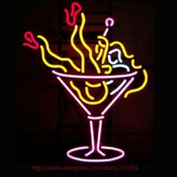 Wholesale Super Bright Martini Girl Cup Neon Bulbs Neon Signs Real Glass Tube Handcraft Signs Advertise Custom LoGO x14