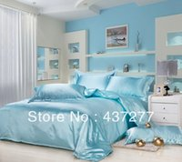 aqua comforters - Top Selling aqua blue patchwork bedding bed set textile twin king size silk cotton duvet cover bed linen coverlet comforter sets