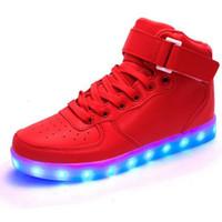Wholesale 2016 High Top Basket Light UP Shoe Mens Shoes Led Schoenen Women Casual Men Homme Luminous Femme Chaussures Lumineuse For Adults