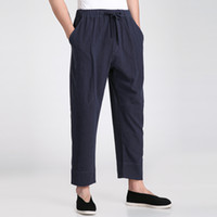 Wholesale Free Shipiing Martial Arts Chinese Style KungFu pants Men s Pure Sports Trousers Chinese Traditional Tai Chi Kung Fu Pants Linen Color