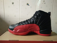 Wholesale basketball shoes xii flu game Black and red men athletic shoes retail