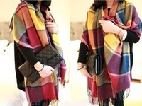 Wholesale New style fashion Scarf Warm Soft Winter High Quality Blanket Shawls Scarves Oversized Tartan Women Shawl Scarf Factory price