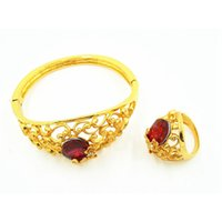 american zinc - High quality fashion hot seller alloy zinc noble burgundy color bangle gold plated bracelets or ring for women