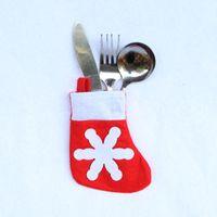 antistatic table - Christmas Decoration Snow Santa Claus Tableware Fork Knife Holder Bag Dinner Table Decorations Fork Pocket Pouch