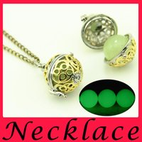 bead necklaces patterns - European and American retro hollow pattern pots luminous beads pendant necklace innovative double color green copper luminous necklace