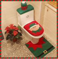 bathroom paper towel - 2016 Merry Christmas Decoration Supplies Santa Toilet Seat Cover Paper Towel Rug Bathroom Set set Pull Flannel Bathroom Ornament
