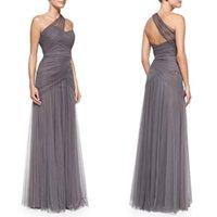 Vestidos de dama de honor gris cariño un hombro vestidos de noche Corpiño acanalado una línea de largo vestido de gasa Monique Lhuillier Vestidos de novia