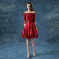 bandages blue discount - Hot Sale Multi Color Discount Party Dresses for Women Off the Shoulder Half Sleeve Cocktail Dress Lace up Tea Length Prom Vestido Curto