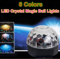 Wholesale 6 Colors Crystal Magic Ball Lights Led Stage DJ Lighting Lamp Party Lights Sound Control Christmas Disco Laser Light Projector AC V