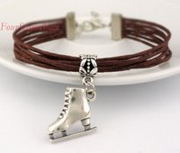 adjustable ice skates - Custom Colorful Skating shoes Leather Rope Bracelet Infinity Skate Charm Wax Cords Adjustable Bracelet ice skate Sport Bangles Drop Shipping