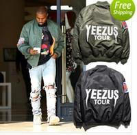 Wholesale KANYE WEST YEEZUS tour MA jackets limit edition black green colors flight parkas BOMBER Confederate Rebel Civil War Flag Jacket Coat