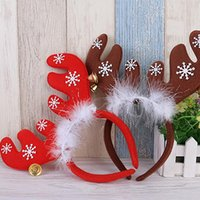 bell buckle - 1PC Christmas Deer Head Hoop Head Baby Children Christmas Hair Band Bell Red Antler Head Buckle Gifts Party Decoration