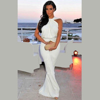 Cheap Hot Sale Kim Kardashian Red Carpet Dress 2016 Sheath Halter Floor Length White Chiffon Long Famous Imitation Celebrity Evening Dresses