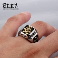 Cheap Drop Shipping Sale Stainless Steel Pirate Plated Gold Skull Ring For Man Titanium Steel Boy's Punk Ring