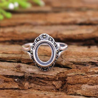 Wholesale Antique Retro Women Ring Sterling Silver x10mm Oval Cabochon Semi Mount Engagement Wedding Fine Silver Ring