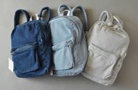 aa vintage - Unisex Vintage Washed Denim denim backpack american apparel double shoulder denim backpack aa denim school bag for man and women