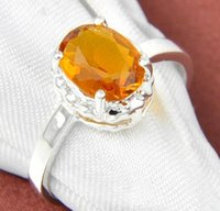 Cheap Jewelry Holiday Gift Newest Oval Brazil Citrine Gemstone 925 Sterling Silver Plated Ring