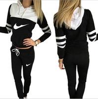 Wholesale Women Tracksuit Hoodies Sweatshirt Pant Running Sport Track suit Piece jogging sets survetement femme clothing size S XL