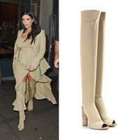 Thigh-High Boots beautiful chic - luxury kanye west kardashian stylish wear over the knee boots women chic open toe design fashion beautiful Heel thigh High boots