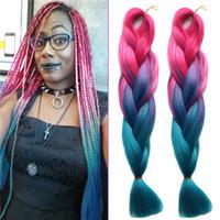 Wholesale Jumbo Braids Twist Hairstyle Kanekalon Hair Extension Peach Ombre Light Blue Bulk Long Folded Synthetic Braiding Wefts Crochet Hook