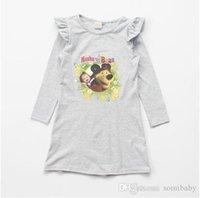 baby bear designer clothing - Masha and Bear Baby Girls Dress Character Printing Full Sleeve Christmas Dress Brand Designer Princess Dress for Girls Clothes