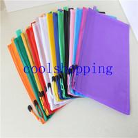 Cremallera impermeable carpeta de archivos de hojas de plástico bolsa de documento bolsillo carpeta A4