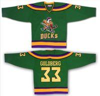 Wholesale Greg Goldberg Mighty Ducks Movie Jersey Green Stitched Sewn Throwback Fulton Reed Ice Hockey Jerseys S XL