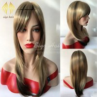 beautiful healthy hair - Hot Sale Human Hair Wigs Long Straight Hair Pure Color inches Synthetic Human Hair Imported Inner Mesh More Beautiful and More Healthy