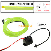audi strip - 5set Yellow Green m Flexible Moulding EL Neon Glow Lighting Rope Strip With Fin For Car Decoration