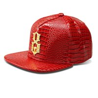 baseball diamond numbers - 2016 Vogue Faux Leather Lucky Number Logo Baseball caps Diamond Gold Crocodile Grain snapback DJ hip hop hats men women gift
