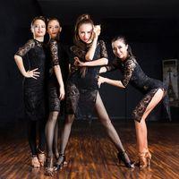 Wholesale 2016 new winter Sasa is the Latin Ballroom Rumba long sleeved dress costume show black lace dress dress Sexy Latin practice