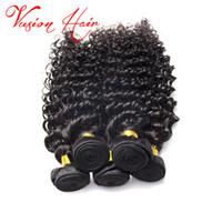 Tissu péruvien 100% Virgin Cheveux humains bouclés Deep Wave 3 lots Lot Mixed Lengths Noir naturel 1B # Coiffures Machine Trame
