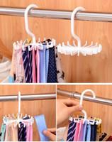 Wholesale 200pcs Hot Space saving Rotation Tie Hanging Scarf Belt White Plastic Necktie Rack Muffler Hanger Storage Hook dandys