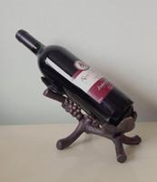 Wholesale Cast Iron Vineyard Grapevine Wine Caddy Bottle Holder Stand Tabletop Rack Wrought Iron Wine Rack Holder Metal