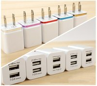 Wholesale 5V A port Dual USB Wall Charger Travel USB Charger for iPhone Samsung Galaxy HTC Mobile Phones Adapter