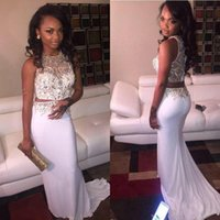 Wholesale 2016 Sexy Two Piece Prom Dresses Sheath Rhinestones Beaded Long White Luxury Mermaid Formal Evening Party Gowns Vestidos
